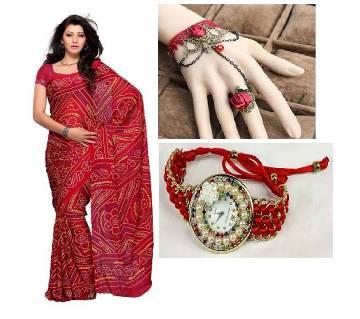 Saree with Beautiful bracelet and Watch