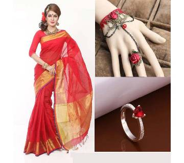 Saree with adjustable bracelet finger ring and Ring