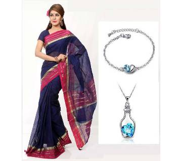 Saree With beautiful Locket and Bracelet