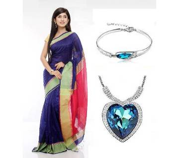 Saree With beautiful Titanic Locket and Bracelet