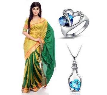 Saree With beautiful finger Ring and Pendant