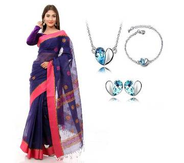 Saree with Earring locket and Bracelet 4 in 1