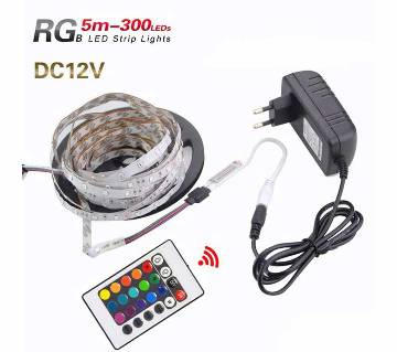 RGB LED Strip 5M 300Led 3528 SMD 24 Key