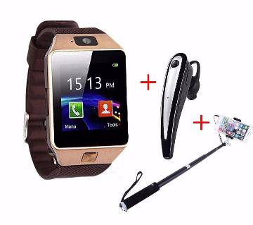 smart watch+ Bluetooth earphone+ selfi stick combo offer