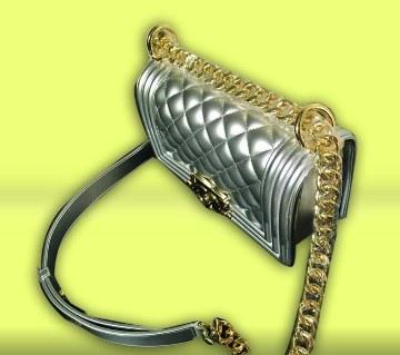 Shinning silver ladies bag