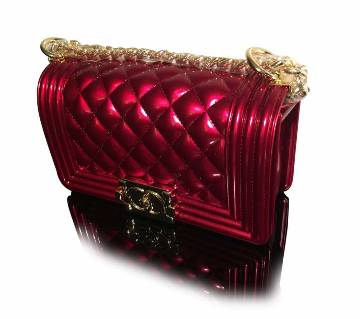 Shinning maroon ladies bag