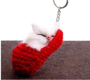 BOAKO Cute Sleeping Cat Pompom কী-রিং