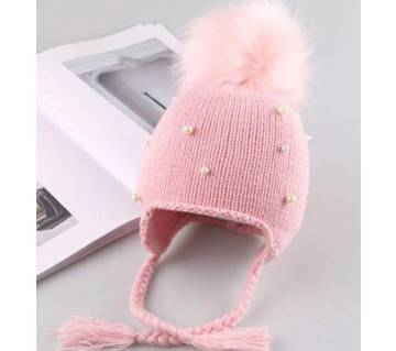 Baby boy Girls Hair Ball Earbud Hat
