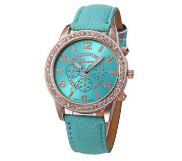 Geneva Leather Quartz Wrist Watches for Women