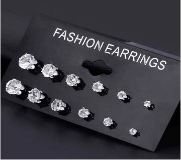 Fashion 6 Pair/ set Punk Zircon Crystal Earrings