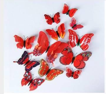 12 পিস মাল্টিকালার ডাবল লেয়ার উইংস 3D বাটারফ্লাই