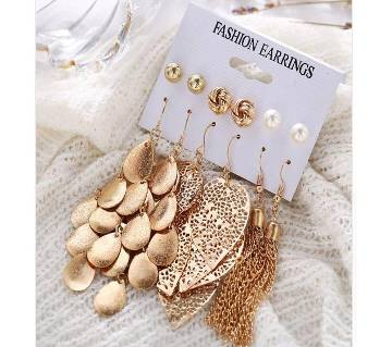 6pars/set Women Leaf Tassel Pearl Earrings Gril