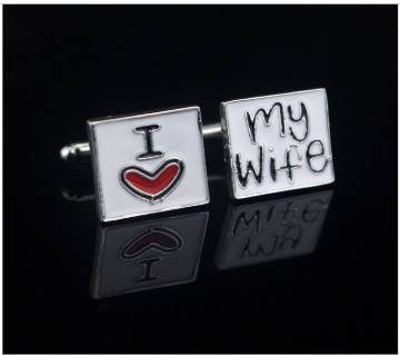 "Square ""i love my wife ""Cufflinks"