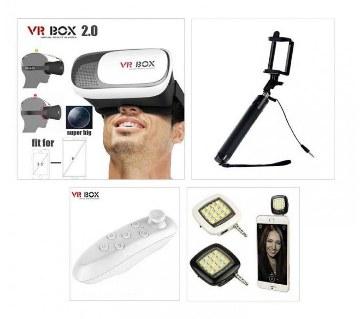 VR Box 2.0+Bluetooth Selfie Stick+Selfie Light Combo