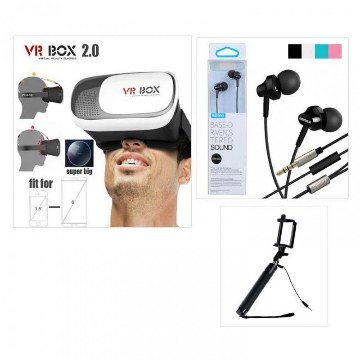 VR Box 2.0+Bluetooth Selfie Stick+Remax Earphone Combo