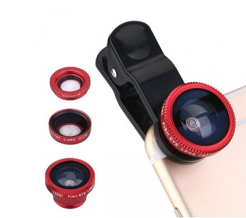 3 in 1 Mobile Camera Zoom Lens (Red)