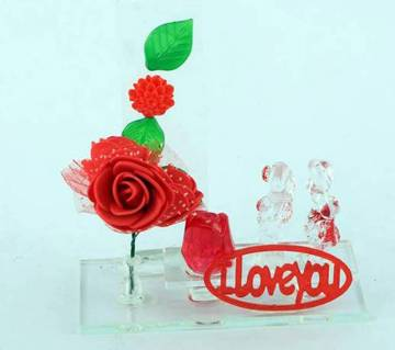 I love you crystal & Flowers -01
