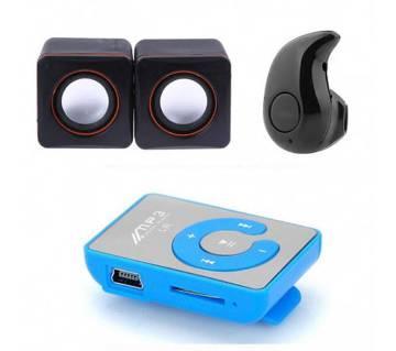 মিনি USB স্পিকার+ওয়্যারলেস ব্লু-টুথ ইয়ারফোন কম্বো