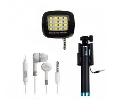 Combo of Selfie flash light+ Selfie Stick + MI earphone (replica)