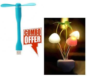 Avatar Sensor Electric Mushroom LED Night Light + Portable Micro USB Fan-01