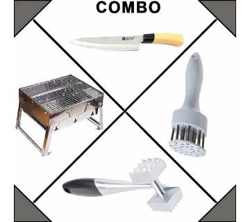 Kitchen Knife+Meat Tenderizer+Meat Hammer+BBQ grill maker combo offer