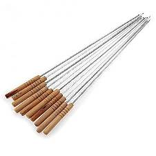 Barbecue Grill Sticks - 12 Pcs - Wooden and Silver
