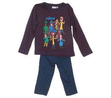 Motu Patlu purple kids t-shirt with pant