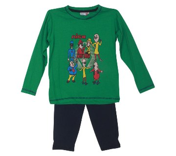 Motu Patlu kids green t-shirt with pant