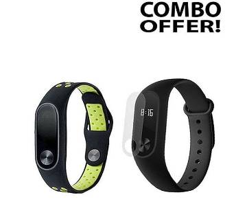 Combo of Silicone Strap Bracelet and Screen Protector for  Mi Band 2
