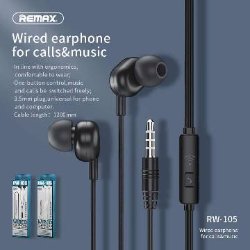 Remax RW-105 New Music Earphone With HD Mic In-ear 3.5mm