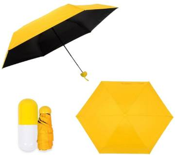 "7"" Mini Folding Umbrella with Cute Capsule Case - Yellow"