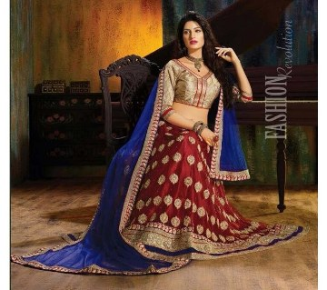 Un stitched silk embroidery lehenga