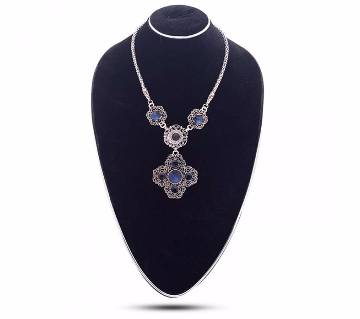 Silver & Blue Stone Setting Necklace
