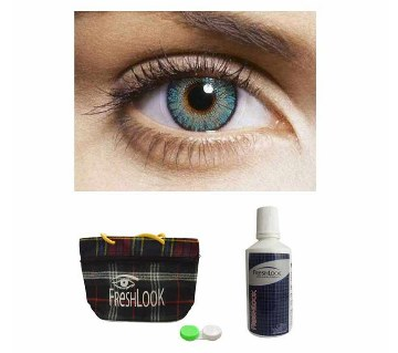 Freshlook contact lenses (Turquoise) + Lens Solution