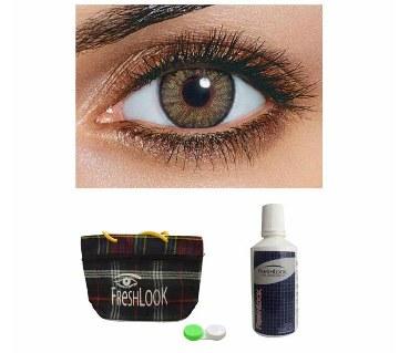 Freshlook Contact Lens (Pure Hazel) + Lens Solution