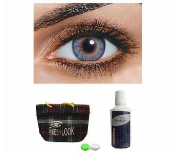 Freshlook Contact Lens (Blue) + Lens Solution