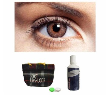 Freshlook contact lenses (Brown) + Lens Solution