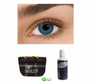Freshlook Contact Lens (Brilliant Blue) + Lens Solution