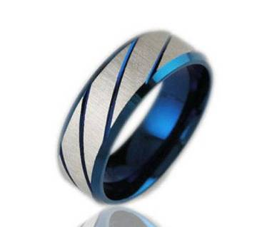 Blue and Silver Stainless Steel Finger Ring