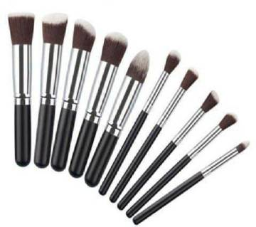 Kabuki Brush Set of 10 Pcs - Black and Silver
