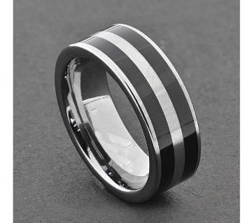 Silver and Black Stainless Steel Finger Ring for Men