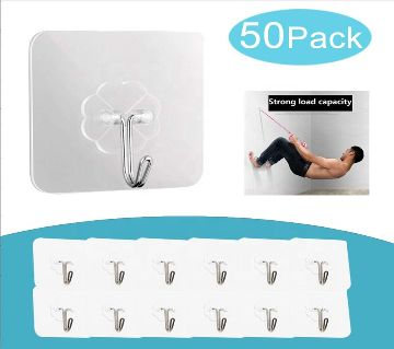 50 packs Wall Hooks 15lb Plastic Transparent Adhesive Hooks Waterproof Oilproof for Bathroom Kitchen Self Adhesive Hooks