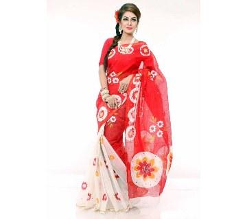Red white silk sharee
