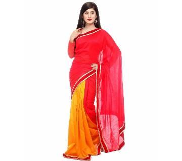 Red yellow silk sharee