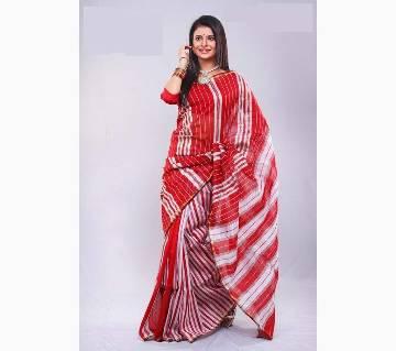 Red and white silk sharee