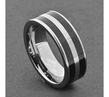 Silver and Black Steel Finger Ring