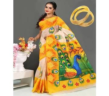 Baisakhi Free Offer Sari with Gold Plated Bangles  Free