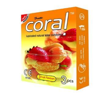 Coral Natural Fruits Flavours condoms 3 pcs