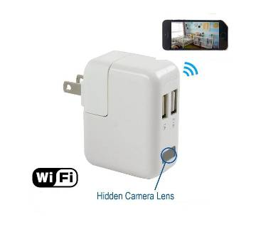 Wall Travel Charger Hidden Spy Camera - White