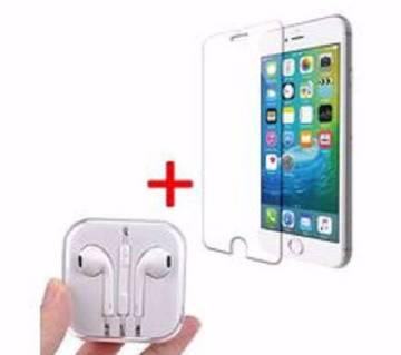 স্ক্রীন প্রটেক্টর ফর Iphone 6, 6S+হেডসেট কম্বো